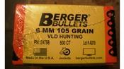 Berger 6MM (243) 105 Grain VLD Bullets - Box of 500!