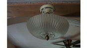 1 Round 13 Inch Vintage 2 Bulb Art Deco Ceiling Light.