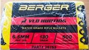 Berger 6.5 MM 130 Grain VLD Hunting Bullets – 500